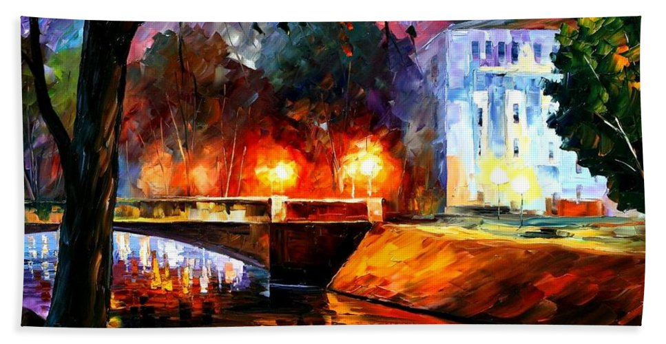 Afremov Bath Sheet featuring the painting Memories Of The First Love by Leonid Afremov