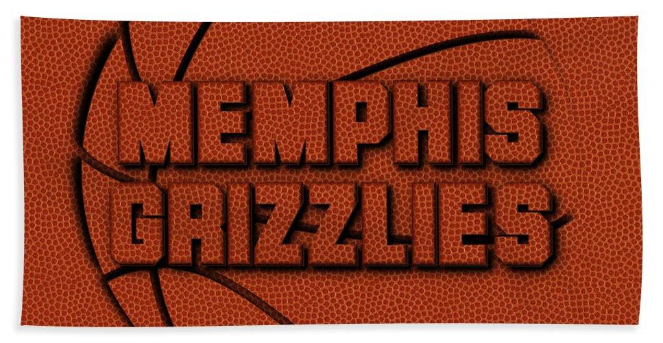 Grizzlies Bath Sheet featuring the photograph Memphis Grizzlies Leather Art by Joe Hamilton