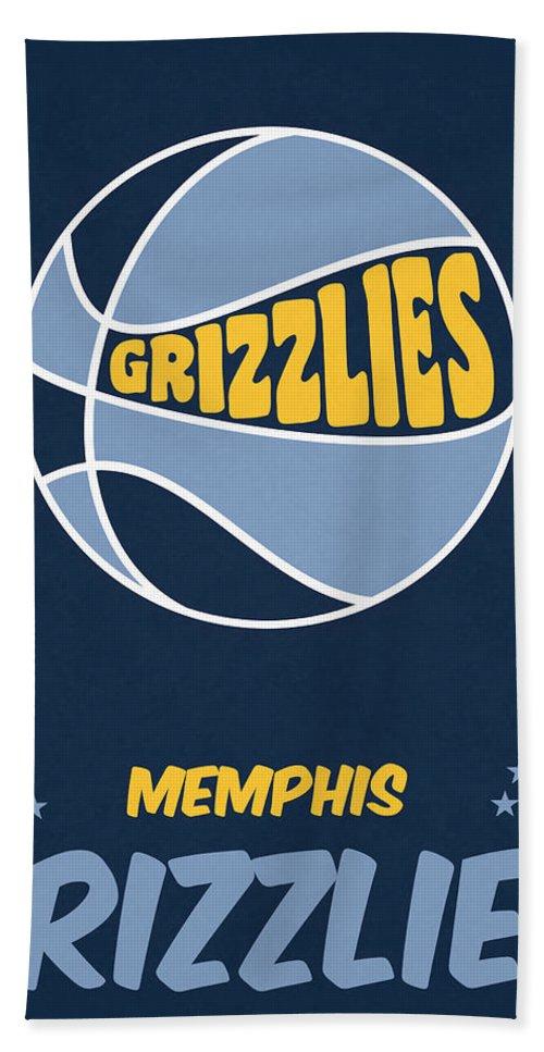 Grizzlies Hand Towel featuring the mixed media Memphis Grizzlies Vintage Basketball Art by Joe Hamilton