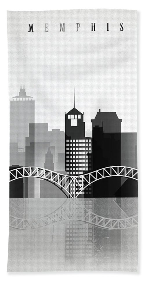 Memphis Hand Towel featuring the painting Memphis, Tennessee Skyline by Dim Dom