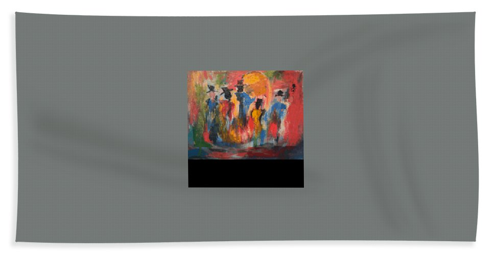 Hand Towel featuring the painting men by Bethany Hannigan