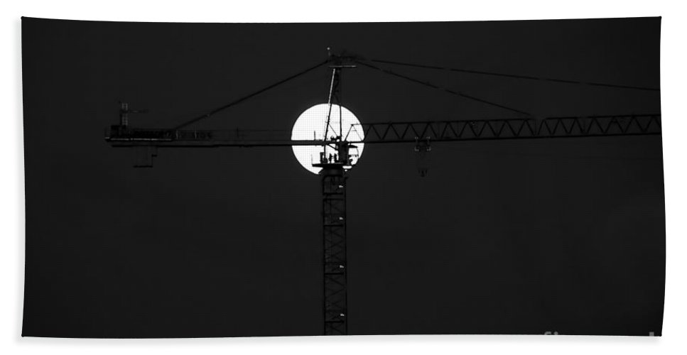 Moon Bath Towel featuring the photograph Men In The Moon by David Lee Thompson