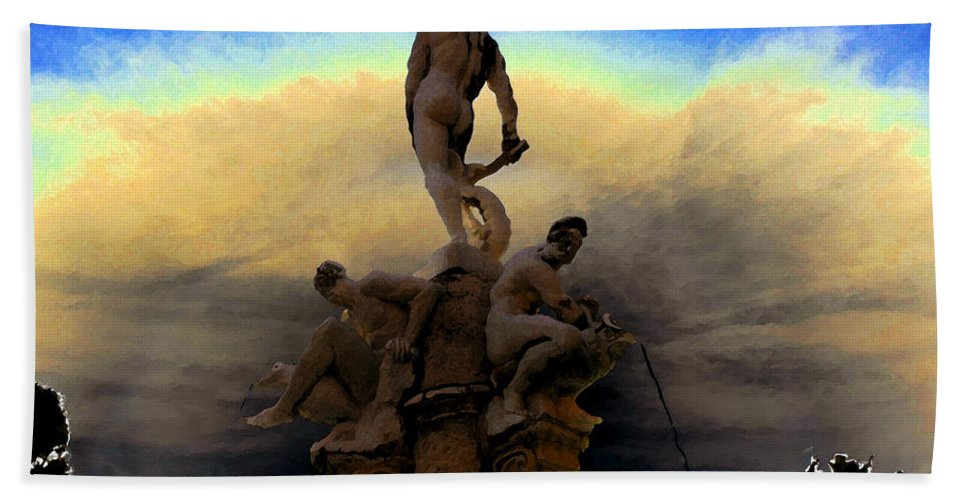 Art Bath Sheet featuring the painting Men Of Greece by David Lee Thompson