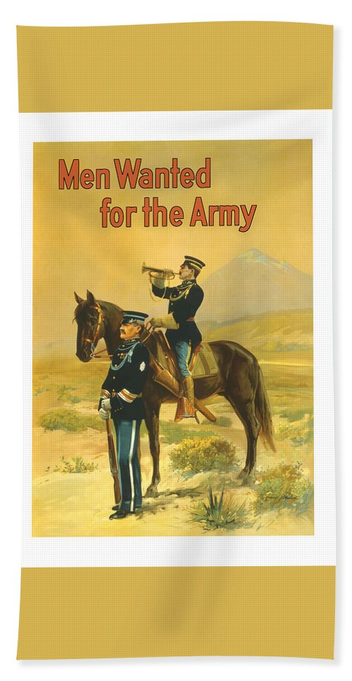 Army Bath Towel featuring the painting Men Wanted For The Army by War Is Hell Store