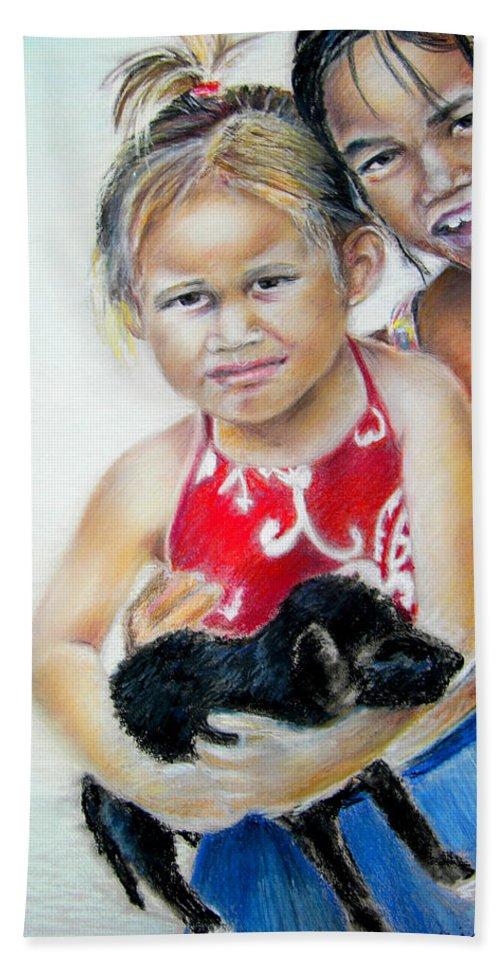 Tahiti Children Portraits Bath Sheet featuring the painting Menage A Trois by Miki De Goodaboom