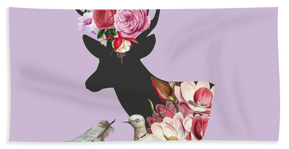 Floral Hand Towel featuring the digital art Menagerie by Suzanne Carter