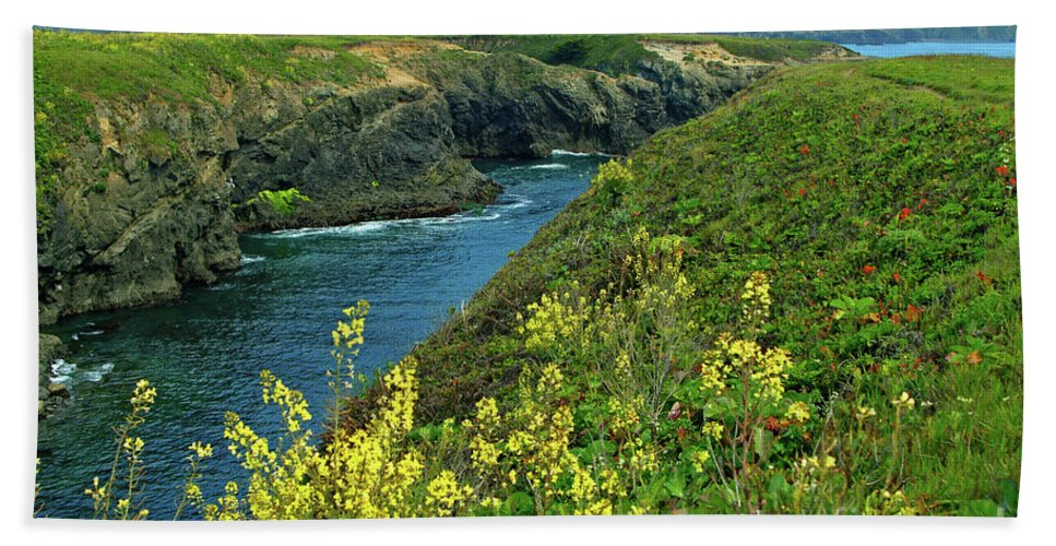 Mendocino Hand Towel featuring the photograph Mendocino Headlands by Charlene Mitchell