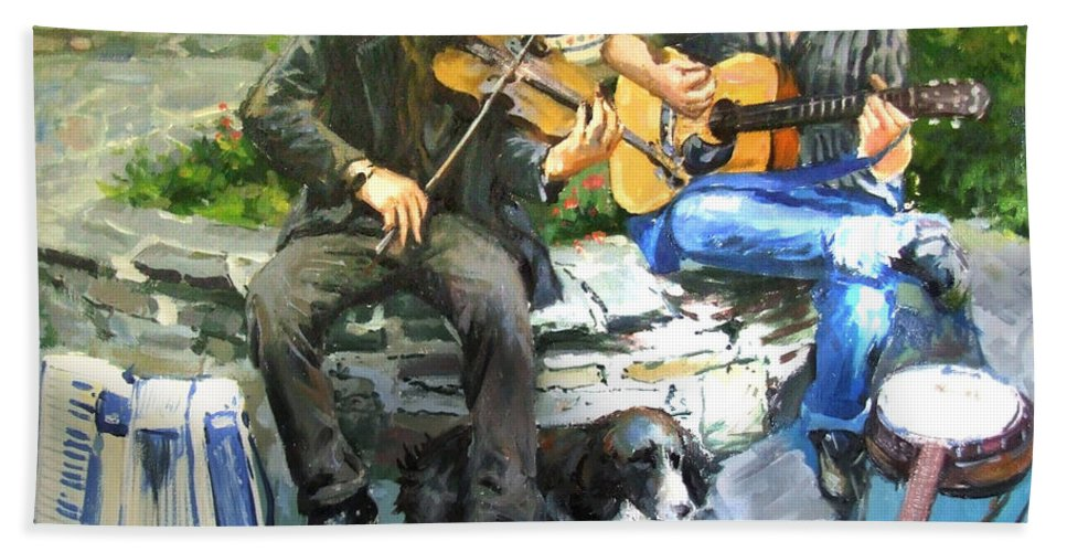 Musicians Bath Sheet featuring the painting Mens Best Friend by Conor McGuire