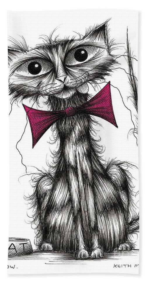 Cute Bath Towel featuring the drawing Meow by Keith Mills