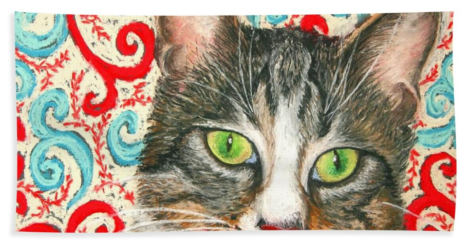 Cat Hand Towel featuring the painting Meow Please... by Minaz Jantz
