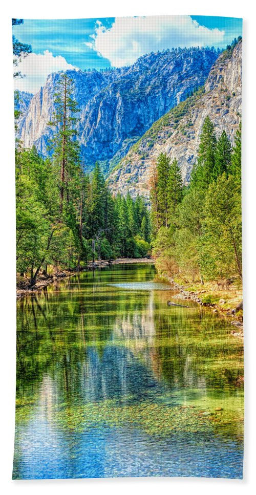 Landscape Bath Sheet featuring the photograph Merced River by John M Bailey