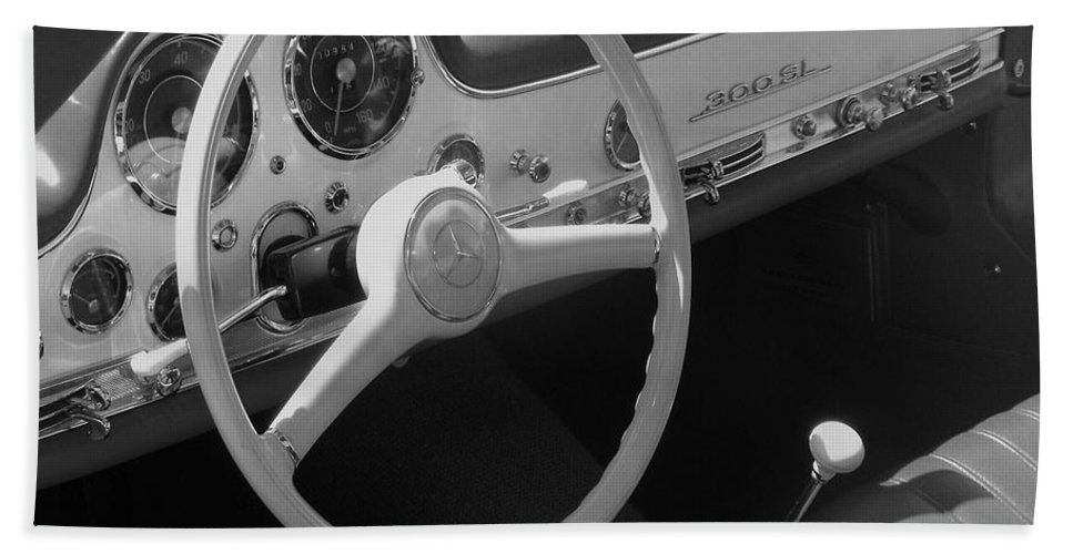 Mercedes Bath Sheet featuring the photograph Mercedes 300sl Dashboard by Neil Zimmerman