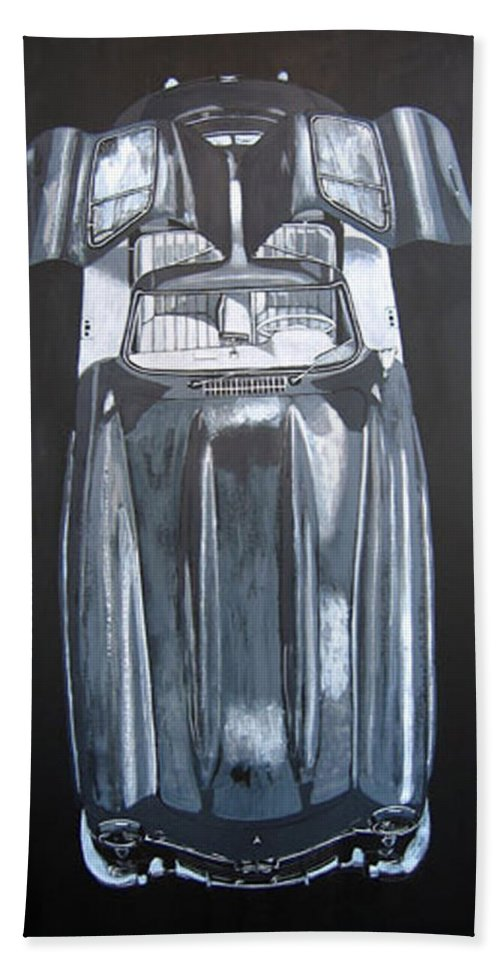 Car Hand Towel featuring the painting Mercedes Benz Gullwing by Richard Le Page