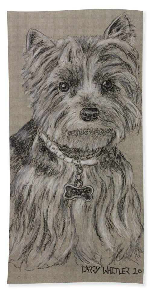 Dog Hand Towel featuring the drawing Mercedes The Shih Tzu by Larry Whitler