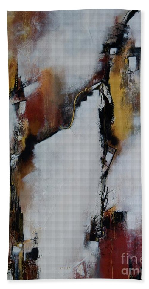 Abstract Bath Sheet featuring the painting Merge And Flow by Laurie DeVault