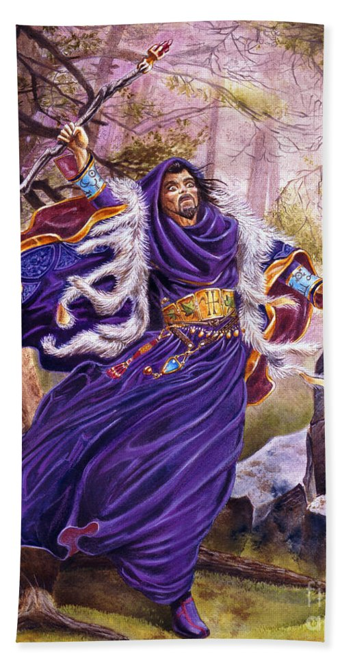 Artwork Bath Towel featuring the painting Merlin by Melissa A Benson