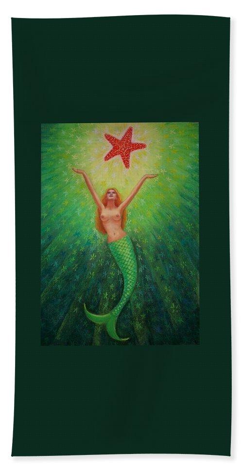 Mermaid Painting Bath Sheet featuring the painting Mermaid Art- Mermaid's Starlight by Sue Halstenberg