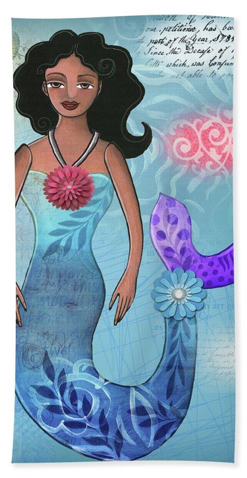 Mermaid Bath Sheet featuring the mixed media Mermaid Dream 1 by Elaine Jackson