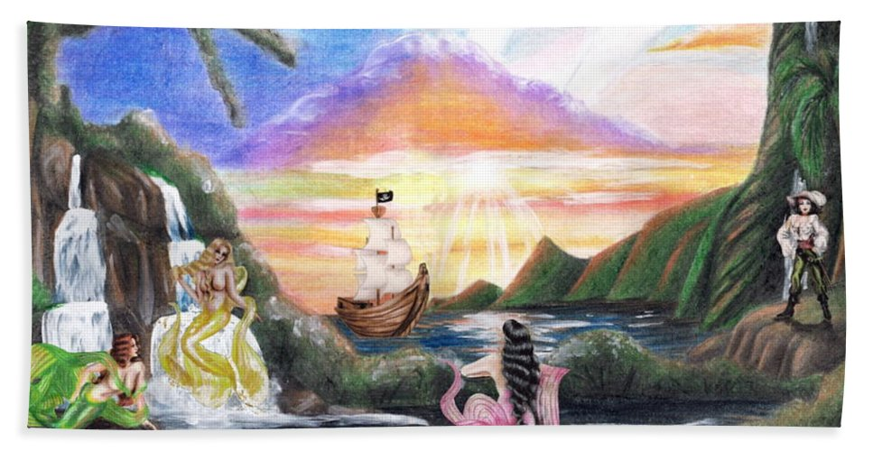Collage Hand Towel featuring the drawing Mermaid Lagoon by Scarlett Royal