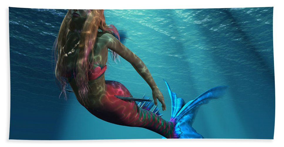 Mermaid Hand Towel featuring the painting Mermaid Of The Ocean by Corey Ford