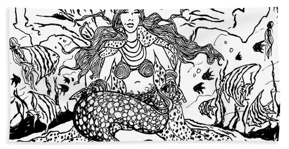 Mermaid Hand Towel featuring the drawing Mermaid Queen by David Dodson