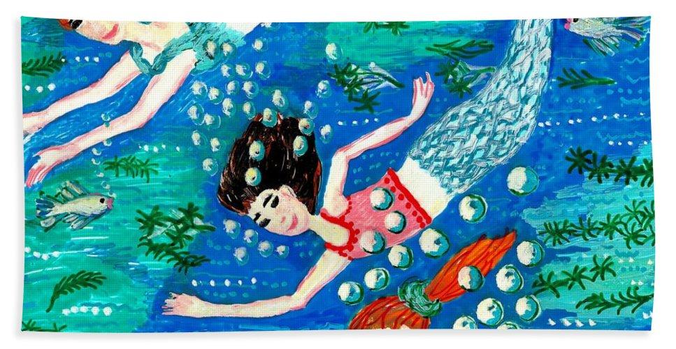 Mermaids Bath Sheet featuring the painting Mermaid Race by Sushila Burgess