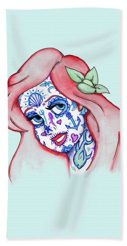 Mermaid Bath Towel featuring the drawing Mermaid Sugar Skull by Ludwig Van Bacon