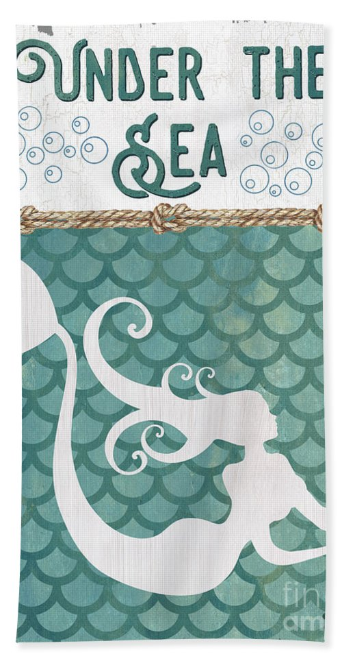 Mermaid Bath Towel featuring the painting Mermaid Waves 2 by Debbie DeWitt