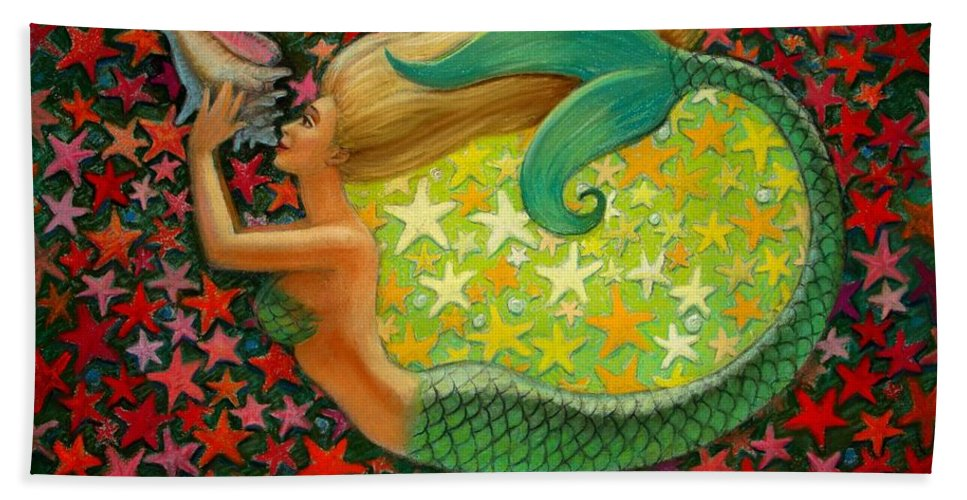 Mermaid Painting Bath Sheet featuring the painting Mermaid's Circle by Sue Halstenberg