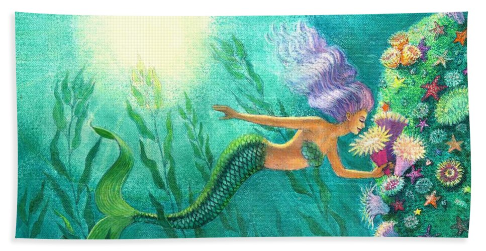 Mermaid Art Bath Sheet featuring the painting Mermaid's Garden by Sue Halstenberg