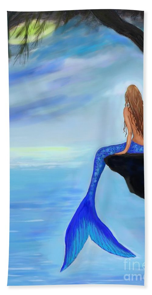 Mermaid Painting Bath Sheet featuring the painting Mermaids Lovely Oasis by Leslie Allen