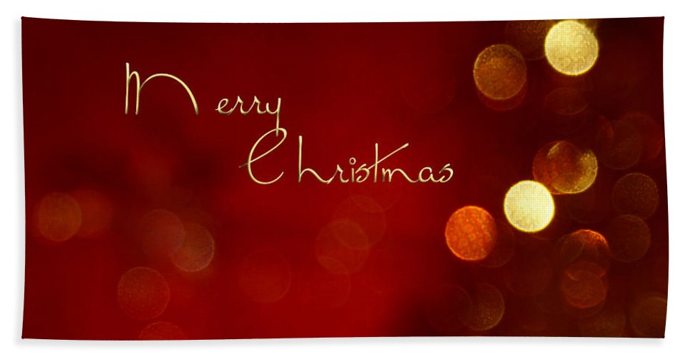 Christmas Cards Bath Sheet featuring the photograph Merry Christmas Card - Bokeh by Aimelle