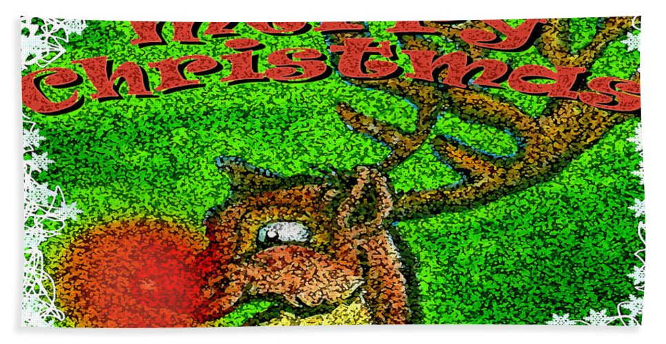 Christmas Bath Sheet featuring the greeting card Merry Christmas by Kevin Middleton