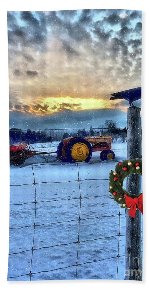 Christmas Hand Towel featuring the photograph Winter Farm Sunset by Anthony Djordjevic