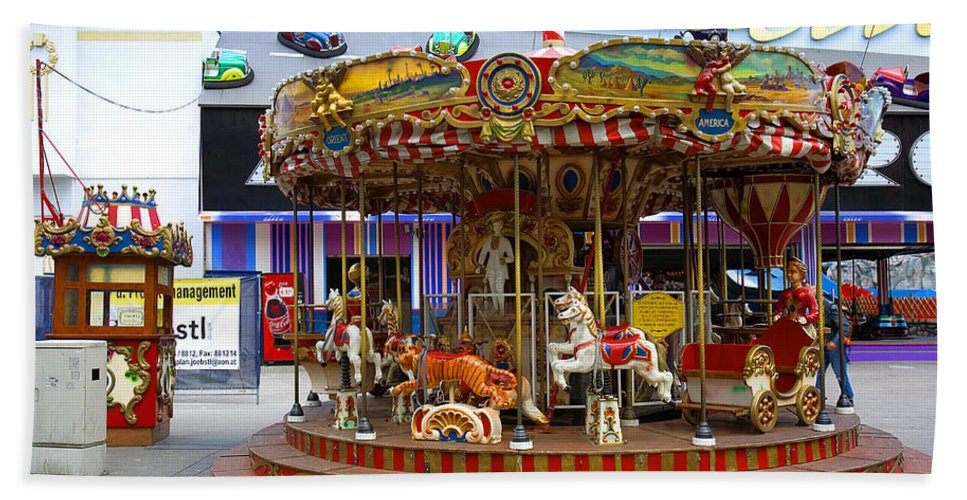 Merry-go-round Hand Towel featuring the photograph Merry-go-round At The Prater by Madeline Ellis