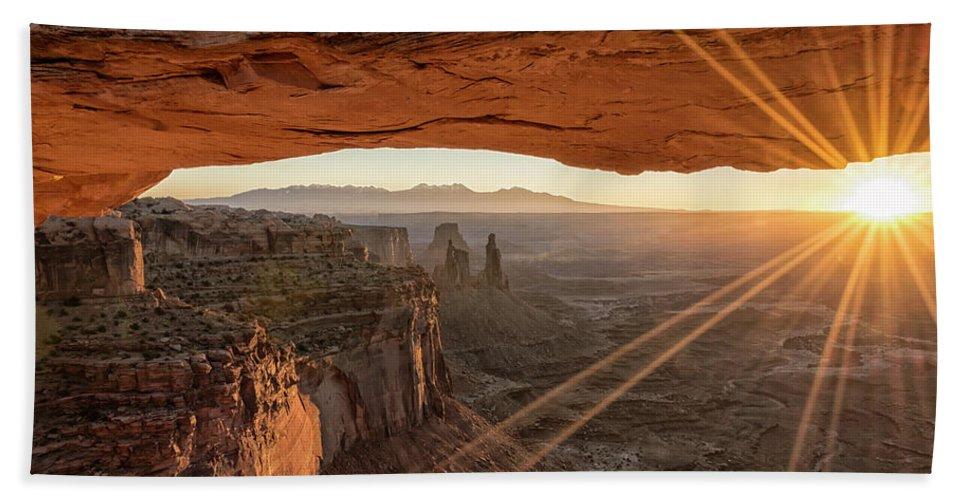 Mesa Arch Sunrise Canyonlands National Park Moab Utah Hand Towel featuring the photograph Mesa Arch Sunrise 4 - Canyonlands National Park - Moab Utah by Brian Harig