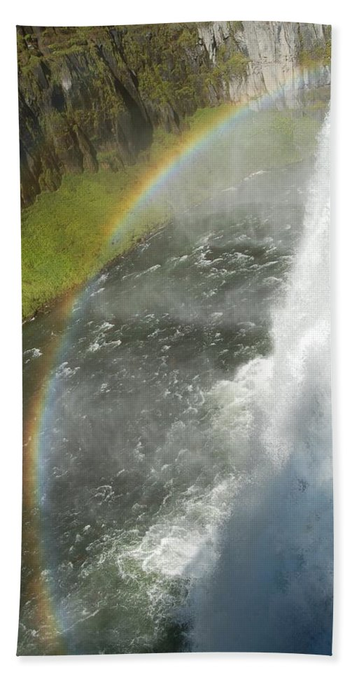 Mesa Falls Hand Towel featuring the photograph Mesa Falls by Lucy Bounds