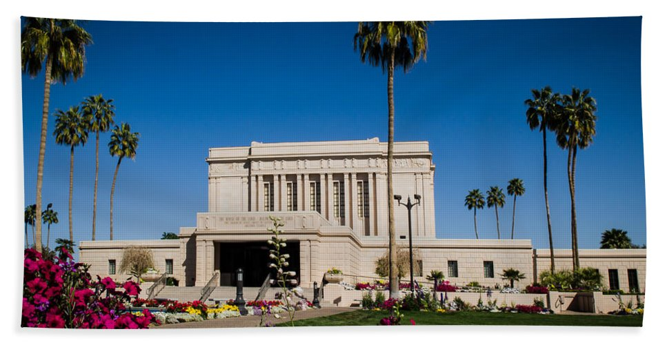 Mesa Temple Photography Hand Towel featuring the photograph Mesa Temple Petunia by La Rae Roberts