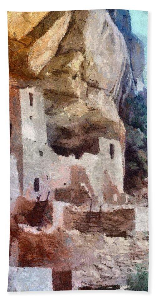 American Southwest Bath Towel featuring the painting Mesa Verde by Jeffrey Kolker