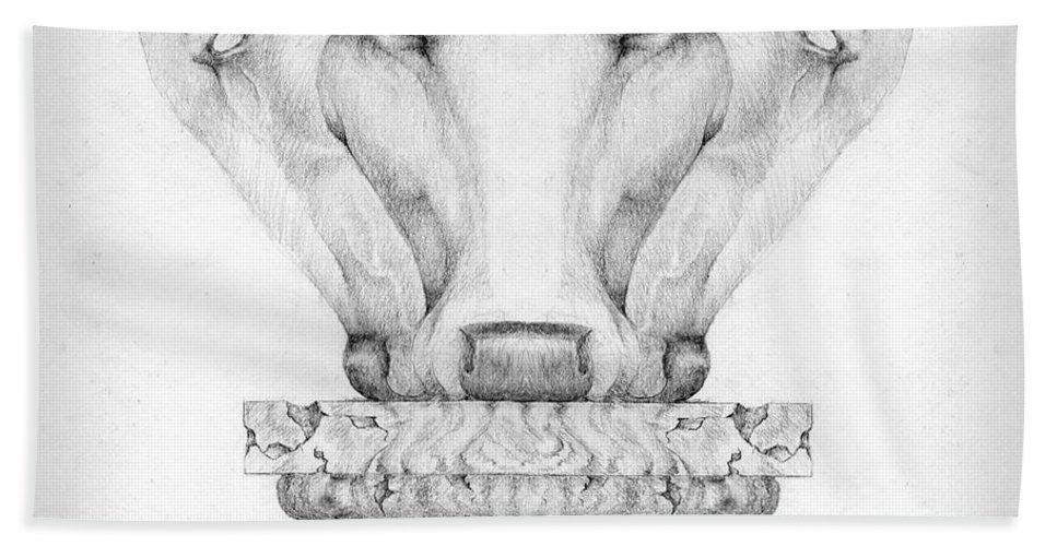 Bull Bath Sheet featuring the drawing Mesopotamian Capital by Curtiss Shaffer