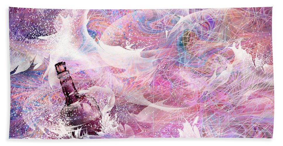 Message Hand Towel featuring the digital art Message In A Bottle by Rachel Christine Nowicki