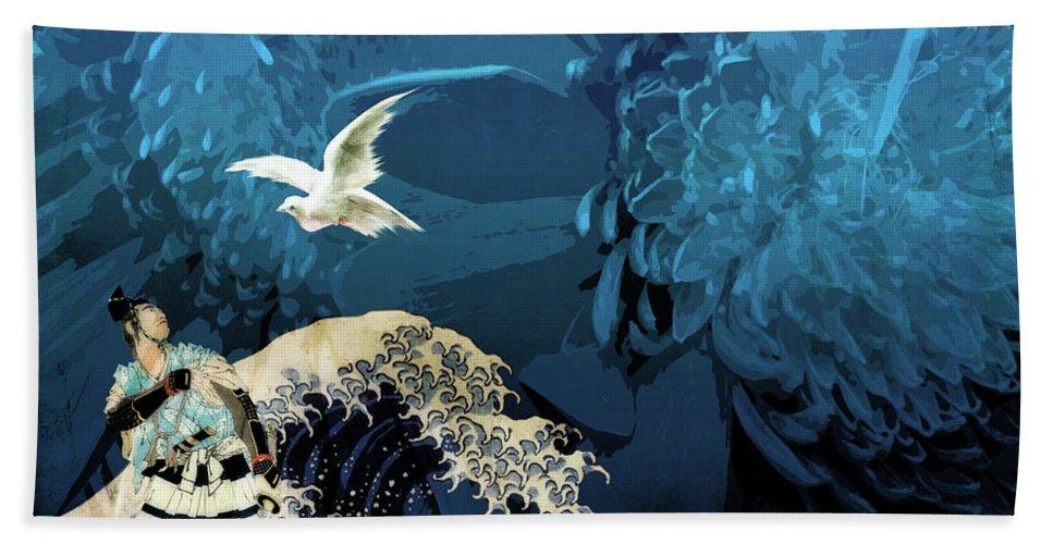 Japanese Prints Bath Towel featuring the digital art Messenger by Laura Botsford