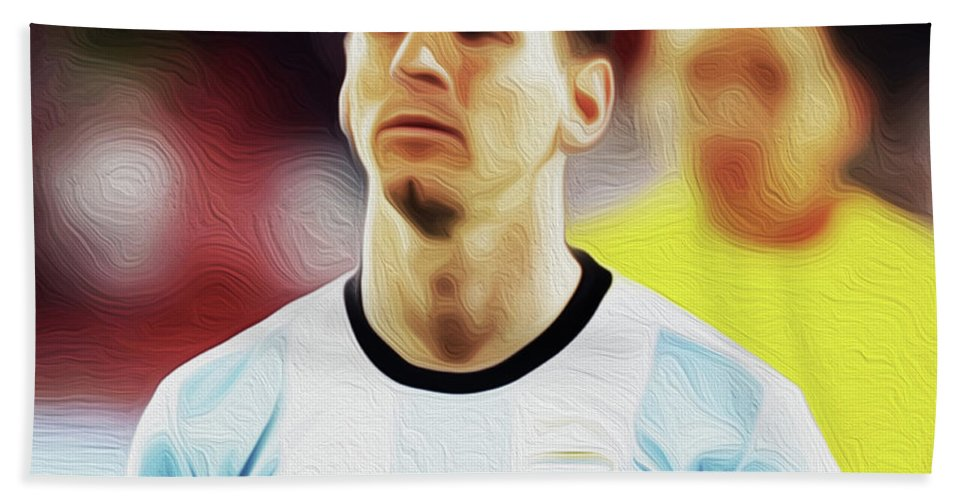 Argentina National Team Hand Towel featuring the painting Messi #23 By Nixo by Never Say Never