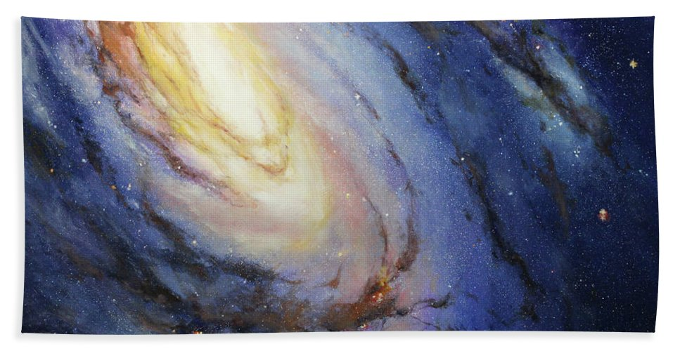 Hubble Bath Sheet featuring the painting Messier 66 by Patty Ray Avalon