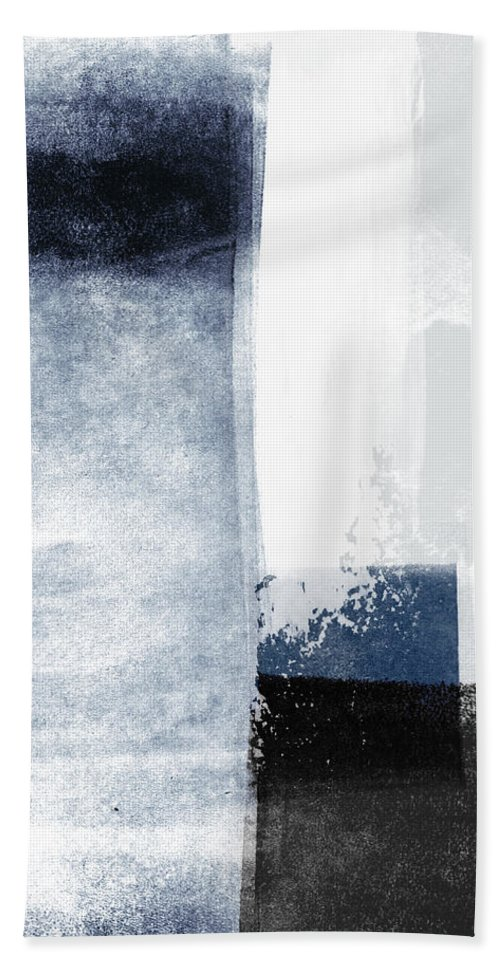 Blue Hand Towel featuring the mixed media Mestro 3- Abstract Art by Linda Woods by Linda Woods