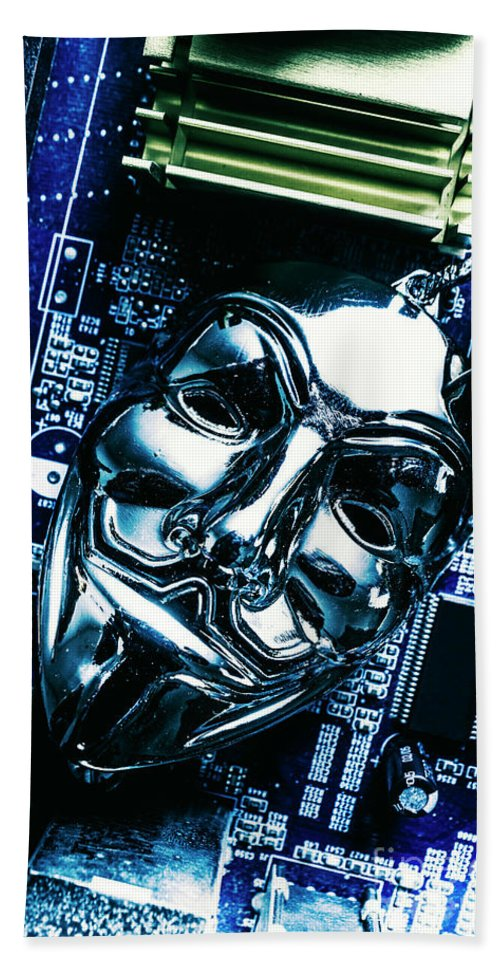 Cyber Hand Towel featuring the photograph Metal Anonymous Mask On Motherboard by Jorgo Photography - Wall Art Gallery