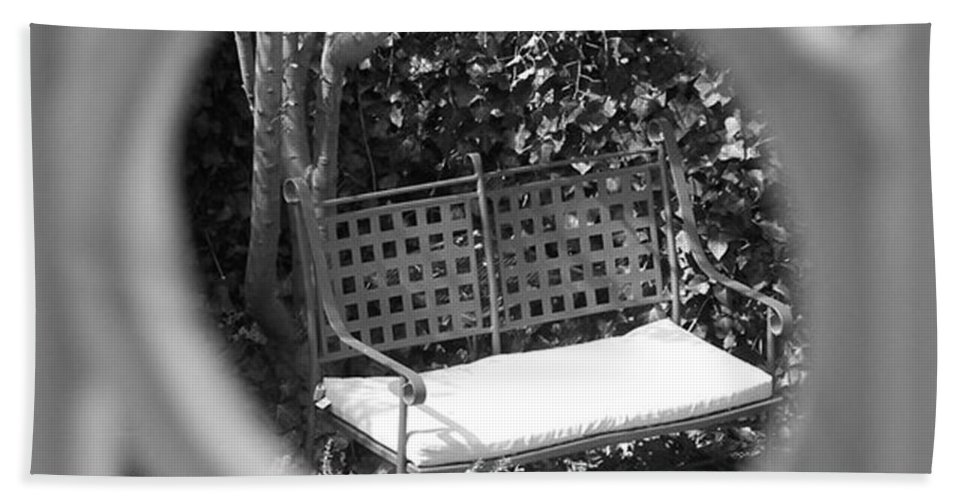 Metal Hand Towel featuring the photograph Metal Bench In Sedona by Claudia Goodell