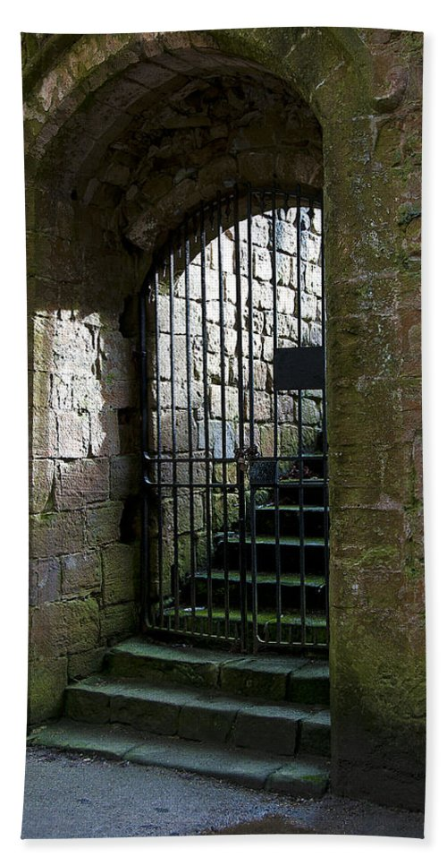 Castle Hand Towel featuring the photograph Metal Cage Door by Svetlana Sewell