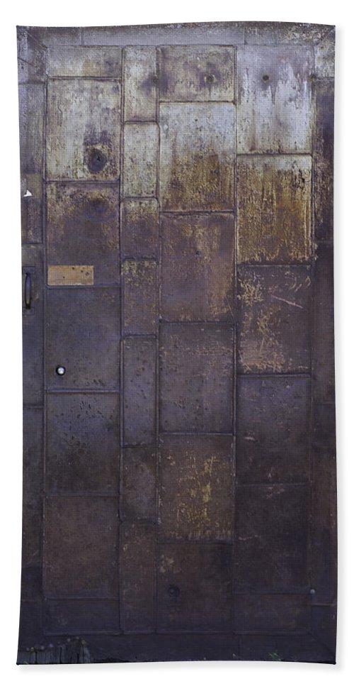 Door Hand Towel featuring the photograph Metal Door by Herman Robert