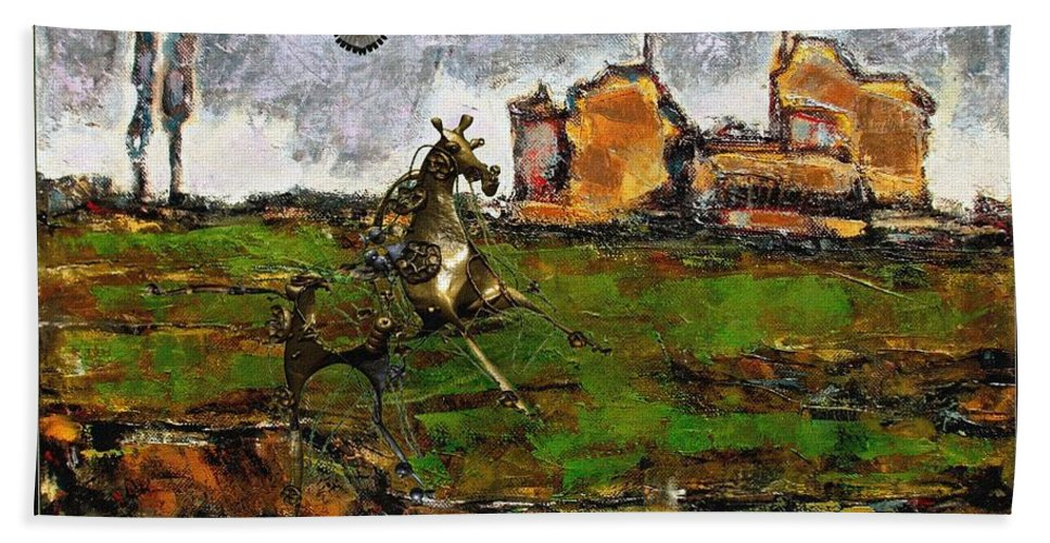 Modern Painting Bath Sheet featuring the mixed media Metal Horse Statue by Pemaro